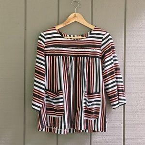Artsy Striped Smock w Pockets - Built by Wendy
